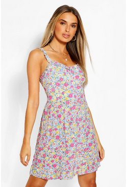 Blue Ditsy Print Sun Dress