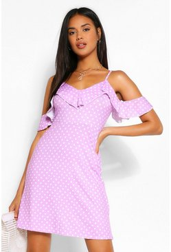 Pink Polka Dot Cold Shoulder Frill Skater Dress