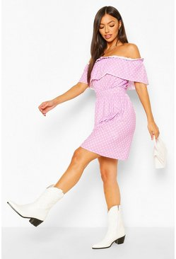 Pink Polka Dot Off The Shoulder Skater Dress