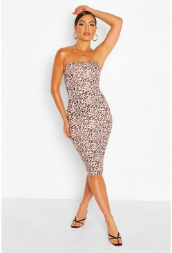 Black Luipaardprint Strapless Midi Bodycon Jurk