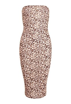 Black Leopard Bandeau Midi Bodycon Dress