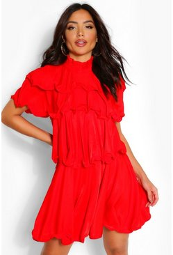 Red High Neck Extreme Ruffle Swing Dress