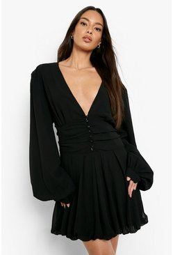 Black Chiffon Plunge Button Detail Skater Dress