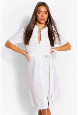 White Cotton Belted Midi Shirt Dress