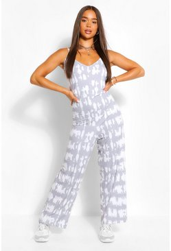 Grey Tonal Tie Dye Oversized Wide Leg Jumpsuit