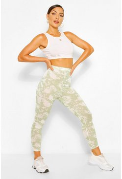 Sage green Tie Dye High Waist Leggings