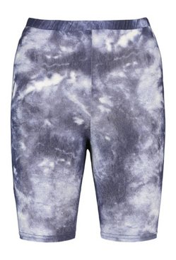 Navy Tie Dye Ribbed High Waist Cycling Shorts