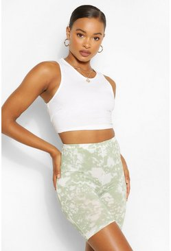 Sage green Tie Dye Ribbed High Waist Cycling Shorts
