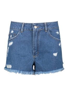Mid blue Denim Distressed Fray Hem Short