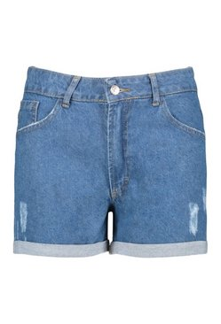 Mid blue Denim Distressed Turn Up Hem Short