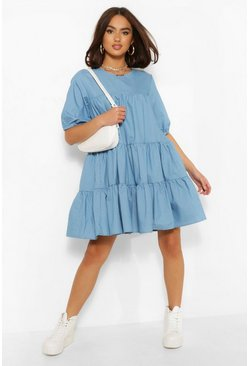 Mid blue Chambray Tiered Smock Dress