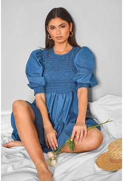 Mid blue Chambray Puff Sleeve Tiered Mini Dress