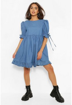 Mid blue Chambray Puff Sleeve Smock Dress