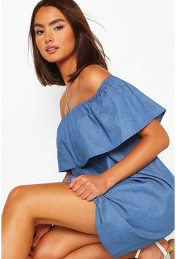 Mid blue blue Chambray Bardot Mini Dress
