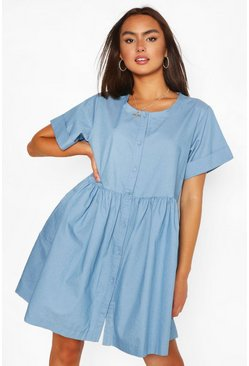 Mid blue blue Chambray Button Down Mini Dress