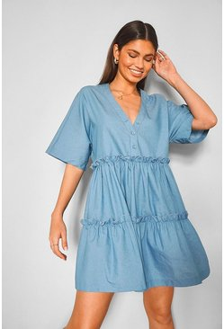 Mid blue blue Chambray Tiered Mini Dress