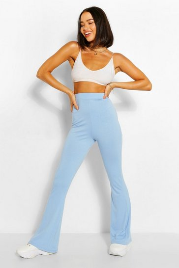 Blue Jersey High Waisted Flares