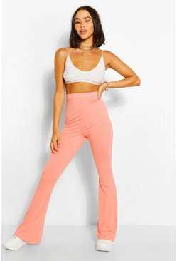 Coral pink Jersey High Waisted Flares
