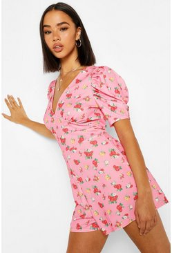 Pink Floral Print Puff Sleeve Wrap Playsuit