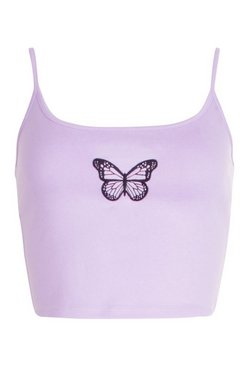 Lilac Butterfly Embroidered Crop Cami