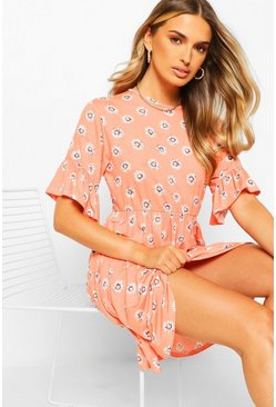 Coral pink Daisy Print Smock Dress