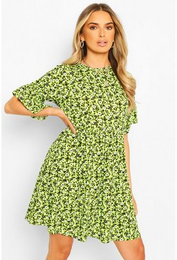 Lime green Floral Print Smock Dress