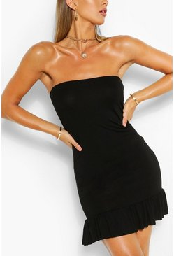 Black Bandeau Frill Hem Mini Dress