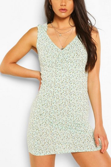 Sage Floral Print Ruched Strap Mini Dress