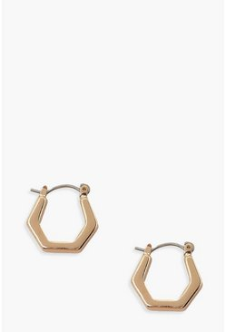Gold metallic Hexagon Mini Hoop Earrings