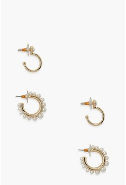 Gold 2 Pack Pearl Detail Hoop Earrings