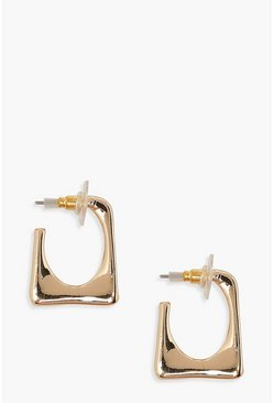 Gold metallic Square Detail Hoop Earrings