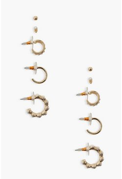 Gold metallic 5 Pack Pearl Detail Stud & Hoop Earrings