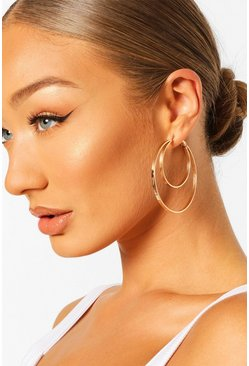 Gold metallic Double Hoop Earrings