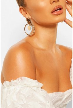 Gold metallic Double Circle Hoop Earrings