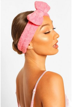 Coral Fluffy Bow Spa Facial Headband