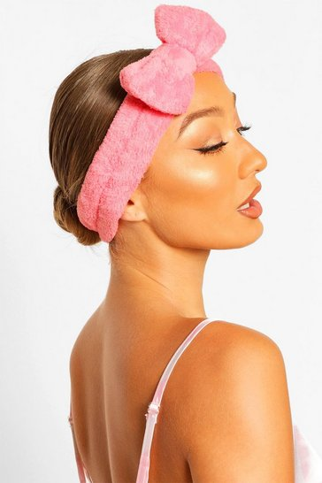 Coral pink Fluffy Bow Spa Facial Headband