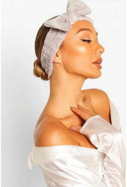 Grey Fluffy Bow Spa Facial Headband