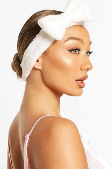 White Fluffy Bow Spa Facial Headband