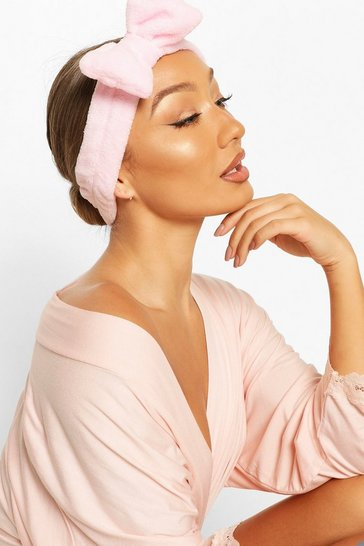 Baby pink pink Fluffy Bow Spa Facial Headband