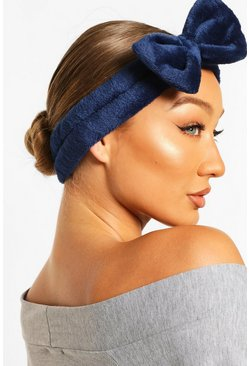 Navy Fluffy Bow Spa Facial Headband