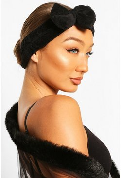 Black Fluffy Bow Spa Facial Headband