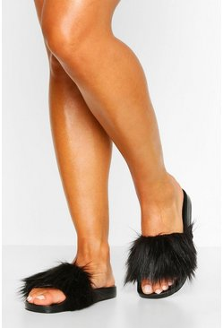 Black Faux Fur Pool Slider