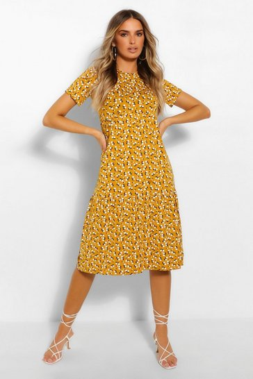 Mustard yellow Ditsy Floral Tiered Midi Smock Dress