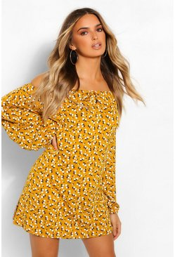 Mustard yellow Ditsy Floral Balloon Sleeve Smock Dress
