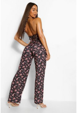 Black Floral Print Strappy Wide Leg Jumpsuit