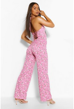 Pink Floral Print Strappy Wide Leg Jumpsuit