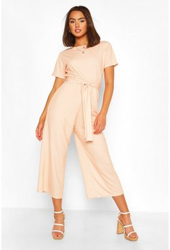 Apricot Polka Dot Short Sleeve Culotte Jumpsuit