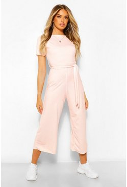 Rose pink Polka Dot Short Sleeve Culotte Jumpsuit