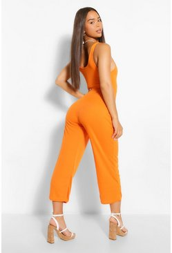 Orange Ribbed Thick Strap Sqaure Neck Culotte Jumpsuit