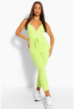 Lime Ribbed Strappy Wrap Front Tie Waist Jumpsuit